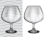 Transparent and opaque realistic empty brandy glasses poster