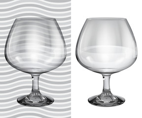 Transparent and opaque realistic empty brandy glasses
