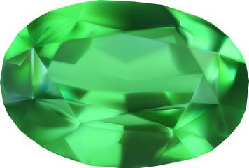 single green gem on white