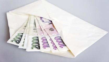Some bills in an envelope - Czech crown