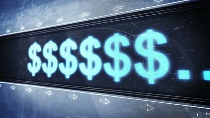 Currencies text in pixel design