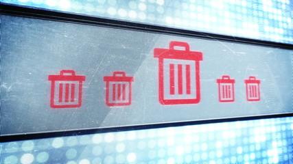 Trash signs in pixel design