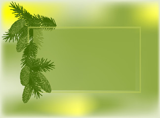 green background with fir branch