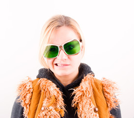 Angry girl in green vintage  glasses