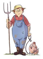 granjero con su cerdo