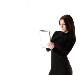 the girl with the tablet on a white background
