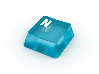 Letter N on transparent keyboard button