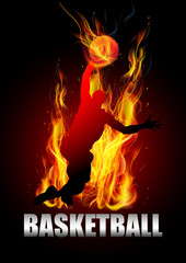 Basketball player jumping with ball fire