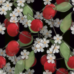Seamless background pattern with colorful cherry and bloom on bl