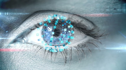 Blinking eye with tech interface