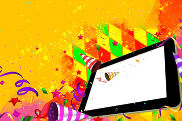 Confetti, streamers and  horn falling out from a Tablet party