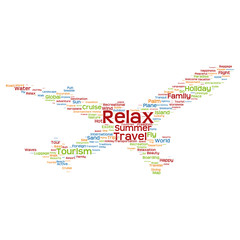 Conceptual relax travel or tourism plane word cloud