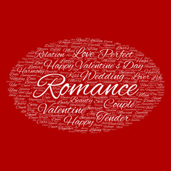 Conceptual Love or Valentine word cloud
