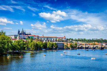 View of Vltava river and Gradchany, Prague
