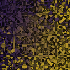 3d abstract fragmentation geometric in purple yellow