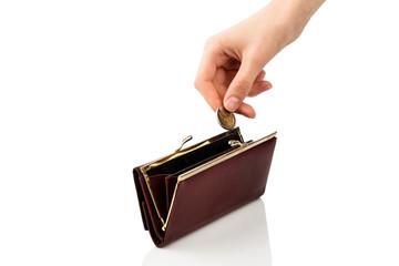 Geldbörse und Münze