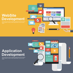 Flat design concept for development websites and apps