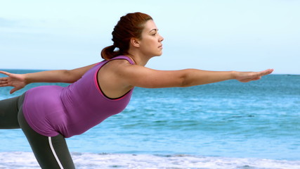 Brunette woman doing yoga