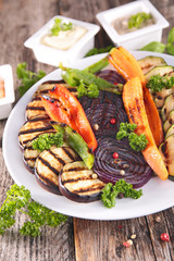 grilled vegetables and sauce