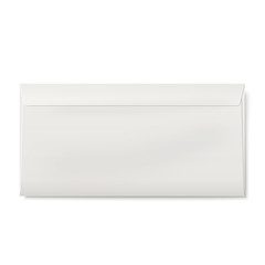 Sealed DL envelope isolated on white background
