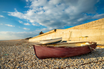 Fishing boats at Chesil Cove in Dorset