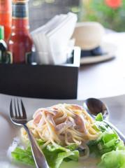Carbonara  Spaghetti with tomato sauce