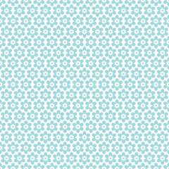 Seamless Retro Pattern Flowers Turquoise