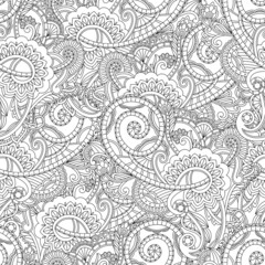 Monochrome paisley pattern. Seamless background
