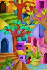 design fantasy with colorful houses and trees