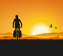 Radfahrer Sonnenuntergang
