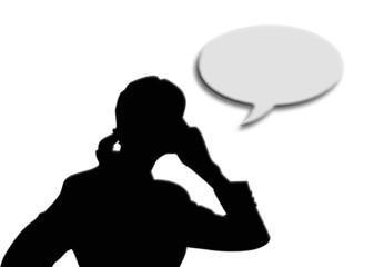 Mujer, silueta, hablando, teléfono, fondo blanco