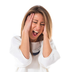 frustrated woman over white background