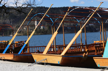 rowboats moored on the shore of Lake Bled in Slovenia and the Ch