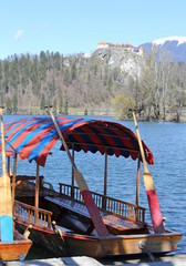 rowboats moored on the shore of Lake Bled in Slovenia and the ca