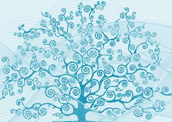 albero con rami curvi e curve azzurre