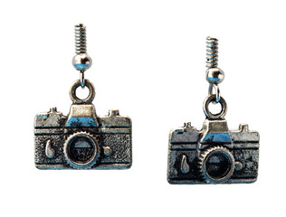 metal earrings in the form of cameras on a white background