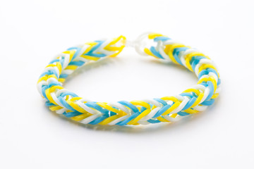 Loom rubber bracelets on white background