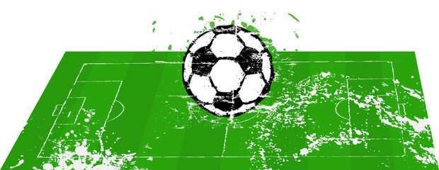 Soccer o. football field with ball, grunge style, isolated, vect