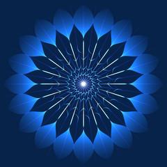 Mystic blue flower in kaleidoscope style