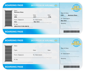 Front View of Airline Boarding Pass Tickets isolated on white background. My Own Design