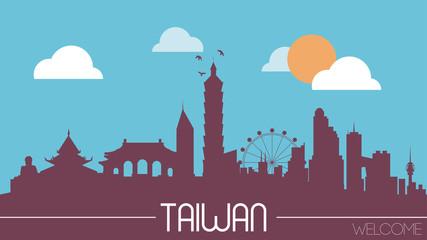 Taiwan skyline silhouette flat design vector illustration
