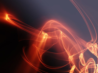 abstract background sparks of fire smoke waves on black