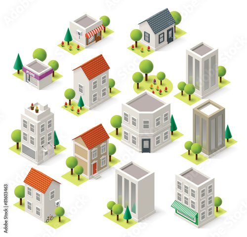Vector isometric city buildings set poster