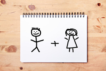 stickman background - drawing block couple