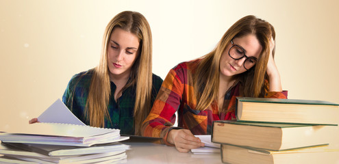 Sisters studying together
