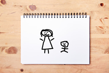 stickman background - drawing block - mother and child