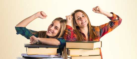 Lucky friends studying together