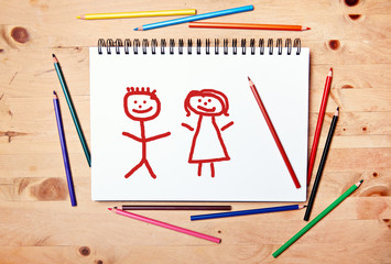 stickman background - drawing block - couple