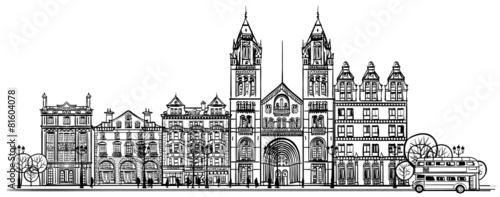 Fototapeta British old traditional facade of London