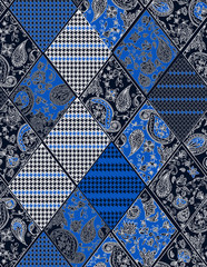 Seamless background lace, paisley and pied-de-poule, houndstooth